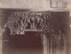 Close view of sculptural detail on the lintel of a doorway of one of the shrines of the Navalinga Temple complex, Kukkunur